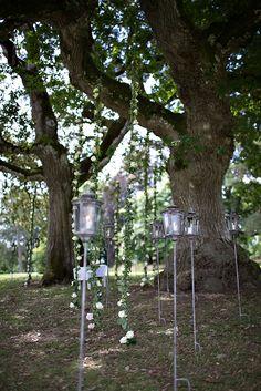 Outdoor Ceremony under the trees Manor Wedding Bouquets, Wedding Flowers, Adare Manor, Flower Centerpieces, Outdoor Ceremony, Luxury Wedding, Real Weddings, Lanterns, Wedding Planner