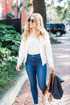 Fall Capsule Wardrobe | High Waisted Skinny Jeans for Fall | Casual Fall Style | Louella Reese Life & Style Blog