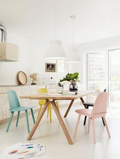 These beautiful images are from Scandinavian design company Muuto's catalogue. The combination of the pastel tones with wood, white and lots of lights works really well.