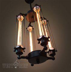 Westmenlights Entryway Cube Cage Chandelier Steampunk Ceiling Lamp Vintage Industrial Pendant Light Design