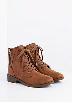 Brown Side Zip Lace-Up Ankle Boot by Qupid  $17.99