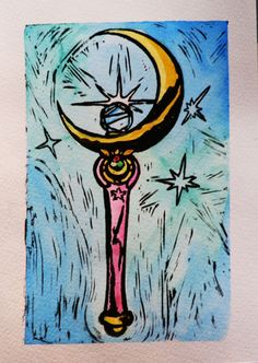Sailor Moon Scepter 5x7 Linocut and Water Color by GeekyCrafters