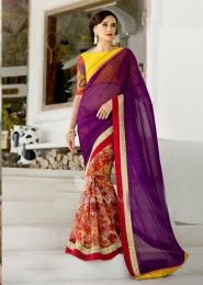 Party Wear Georgette Violet Lace Border Work Saree