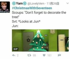 Jun is BEAUTIFUL so they put him on a christmas tree
