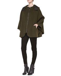 { vince leather trim cape }