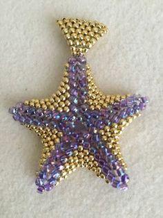 Jewelry by Jasvanti: Beaded Starfish Pendant II purple seed beads size gold seed beads size 11 Seed Bead Bracelets, Seed Bead Jewelry, Bead Jewellery, Seed Beads, Jewelry Making Tutorials, Beading Tutorials, Beaded Bracelet Patterns, Beading Patterns, Beaded Starfish