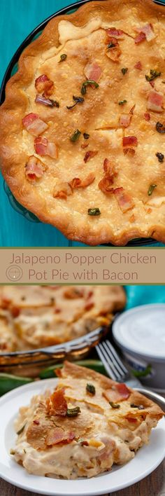 Jalapeno Popper Chicken Pot Pie with Bacon | http://thecookiewriter.com | @thecookiewriter | #chicken #bacon | A wonderful holiday main course that can be made with homemade or store-bought pie crust!