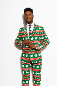 Holiday Party Opposuits Suit Pants Patchwork Christmas Size 33