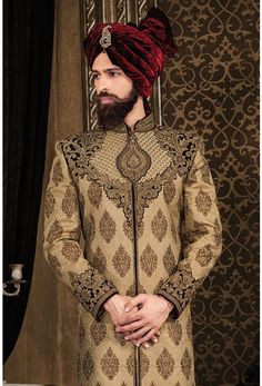 Wedding Sherwani-Beige-SH237