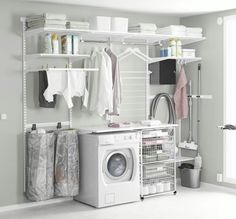 Browse laundry room ideas and decor inspiration. Discover designs for custom laundry rooms and closets, including utility room organization and storage solutions. Laundry Room Cabinets, Basement Laundry, Laundry Room Organization, Laundry Room Design, Ikea Laundry Room, Diy Cabinets, Laundry Bathroom Combo, Small Shelves, Small Storage
