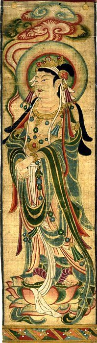 China, Tang Dynasty, Painting 9th century. Bodhisattva, Color on Silk. L = 195 cm, W = 28 cm From China's Dunhuang Excavation 莫高窟蔵経洞