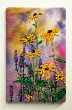 Susans by Jo Wood Fabric Art, Fabric Crafts, Sewing Crafts, Jo Wood, Seed Bead Art, Seed Bead Flowers, Beads Pictures, Art Folder, Feather Painting