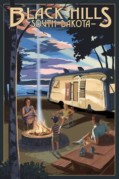 Black Hills, South Dakota - Retro Camper & Lake - Lantern Press Artwork
