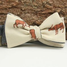 Well this is a no-brainer. Vintage 1970s Antelope Print & Chambray Reversible Bow Tie - vintage bow ties handmade in the United States