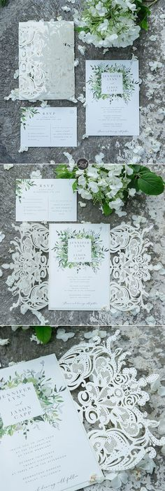 {Evelyn's Garden} lush greenery inspired invitation with ivory shimmer laser cut wrap EWDS001