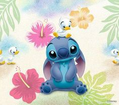 Stitch and the cute little ducklings