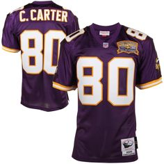 Mitchell & Ness Cris Carter Minnesota Vikings 40th Anniversary 2000 Authentic Throwback Jersey – Purple