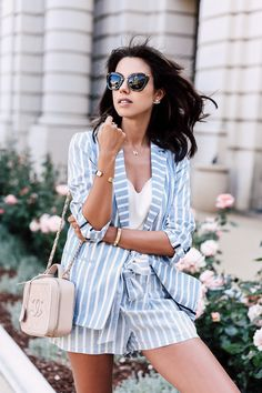 Pin for Later: 46 Stylish Outfits That Dare You to Ditch the Color Black A Matching Striped Blazer and Shorts Feels Preppy and Light Look Blazer, Blazer And Shorts, Blazer Outfits, Stripe Shorts, Striped Blazer Outfit, Short Outfits, Stylish Outfits, Classy Outfits, Fashion Blogger Style