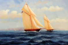 1800's Racing Sailboats Marine Seascape Art Ocean 24x36 Oil on Canvas Painting | eBay