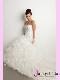 White Ball Beaded Organza Bridal Dress from www.jackybridal.com