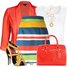 Colorful Striped Skirt by daiscat on Polyvore featuring moda, Precis Petite, Dsquared2, Giuseppe Zanotti, Furla, Lara Bohinc and Reeds Jewelers