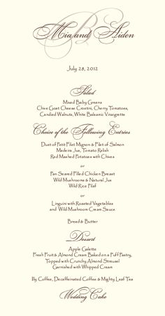 Modern Monogram Menu Sample In Black And White By Redheartpaperco
