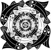Circular Fish by MC Escher, 1956 Mc Escher Art, Escher Kunst, Op Art, Escher Tessellations, Art Database, Wood Engraving, Fish Art, Gravure, Optical Illusions