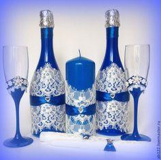 Купить Свадебный набор синий с кружевом - синий, свадебные аксессуары, свадебные бокалы, свадебное шампанское