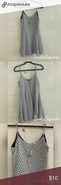 Very J Summer Dress Super cute excellent consummer dress. Black & white pattern. Adjustable straps zipper in back. 65% cotton 30%polyester 5% spandex. Lining 100% polyester length 29in chest 17in Very J Dresses