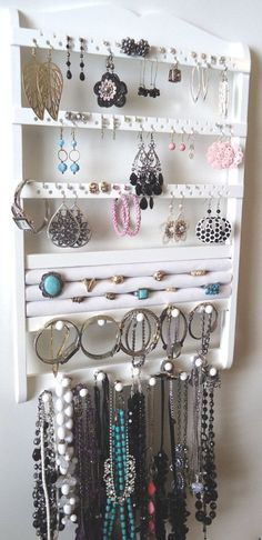 Ring Holder - Jewelry Holder, Necklace Holder, Earring Bracelet Organizer, Cabinet Grade White Paint (BEAUTIFUL Storage Layout for a DIY project! Jewellery Storage, Jewelry Organization, Jewellery Display, Diy Jewelry, Jewelery, Jewelry Making, Earring Display, Necklace Storage, Earring Storage