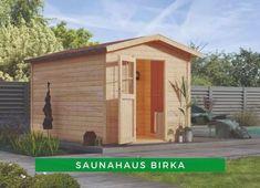 Sauna außen: Das Saunahaus Birka bietet genug Platz für erholsame Wellnessstunden im eigenen Garten. Auf drei Bänken haben Sie die Möglichkeit, angenehme Saunagänge zu genießen. Entscheiden Sie sich jetzt für dieses Modell! Bio Sauna, Shed, Outdoor Structures, Gable Roof, House Shingles, Barns, Sheds