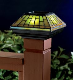 Beautiful Stained Glass Solar Post Cap Light - Plow & Hearth