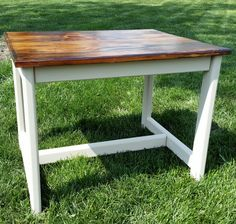 Repurposed end tale! Mud painted bottom and dark walnut stained top!