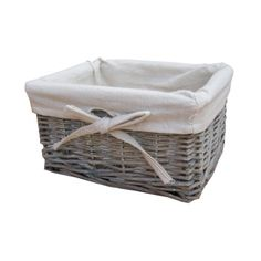 Merveilleux Small Grey Wash Wicker Storage Basket   Lined