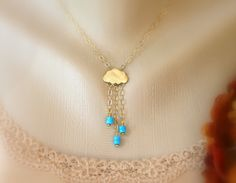 Turquoise Rain Cloud Necklace, Statement, Strand, Pendant, Charm, Beadwork, Gemstone, December Birthstone, Bridal Jewelry, Holiday Necklace
