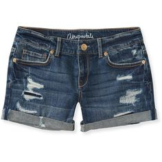 Aeropostale Medium Wash Destroyed Midi Shorts ($9.99) ❤ liked on Polyvore featuring shorts, bottoms, pants, jeans, medium wash, cuffed shorts, destroyed shorts, slim shorts, midi shorts and torn shorts