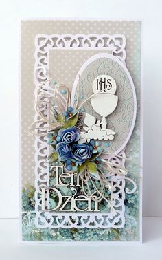 kartkulec: I Komunia Święta First Communion Cards, Cute Cards, Projects To Try, Frame, Scrapbooking, Crafts, Diy, Christening, Invitations