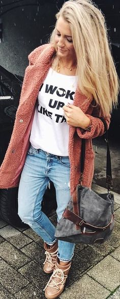 #winter #outfits pink button-up jacket