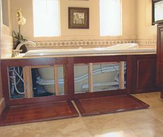 Tub surround: No nails required. Magnets hold the cabinet fronts in place and removal is a cinch. Tub Remodel, Master Bath Remodel, Bathroom Renovations, Home Remodeling, Bathtub Makeover, Paneling Makeover, Diy Bathtub, Bathtub Caddy, Bathtub Surround