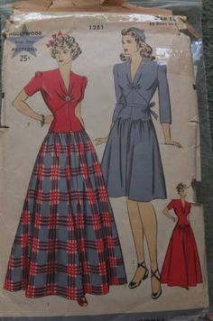 Vintage original 1940s one piece dress Hollywood sewing pattern 1943 WW2 | eBay