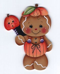 GINGERBREAD Pumpkin Suit - Designed and handpainted by Pamela House