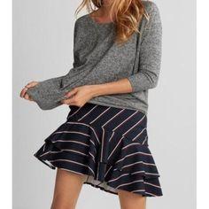 Express Skirts | Express Tiered Ruffle Stripe Skirt | Poshmark Stripe Skirt, Ruffle Skirt, Short Skirts, Mini Skirts, Jean Skirt Outfits, Running Skirts, Tiered Skirts, Colourful Outfits, Summer Trends