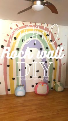 Indoor rock wall! How to build and indoor rock wall for your kids fun DIY #diy #diyideas #diyproject #kidsdiy #rockwall #playroom #playroomgoals #dreamplayroom #indoorgym #kidsgym Kids Indoor Gym, Kids Gym, Rock Wall, Rainbow Wall, Fun Diy, Diy Wall, Diy For Kids, Home Projects, Project Ideas