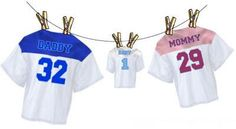 Football Baby Shower Theme... Great since we actually have the jerseys for it... Bear, Mama Bear & Baby Bear