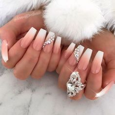 Coffin Nails WIth Classic Ombre and Stones ❤ 35+ Magnificent Coffin Nails Designs You Must Try ❤ See more ideas on our blog!! #naildesignsjournal #nails #nailart #naildesigns #nailshapes #coffinnails #balerinanails #coffinnailshapes Glam Nails, Classy Nails, Bling Nails, Stylish Nails, Beauty Nails, My Nails, Nails Today, Glitter Nails, Nagel Bling