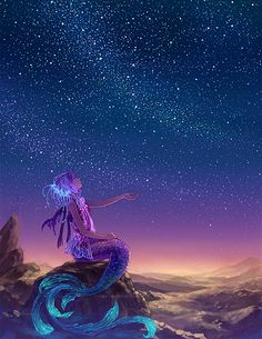 stars reflect in the mermaids tail and hair