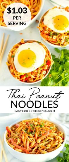 These 20-Minute Thai Peanut Noodles are full of veggies, covered in an easy peanut sauce, and topped with a fried egg. The recipe serves 6 and costs just $6.16 to make! Yummy Pasta Recipes, Gnocchi Recipes, Spicy Recipes, Slow Cooker Recipes, Easy Dinner Recipes, Asian Recipes, Easy Meals, Ethnic Recipes, Entree Recipes