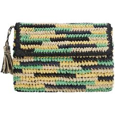 MANGO Straw Clutch (710 CZK) ❤ liked on Polyvore featuring bags, handbags, clutches, straw purses, mango purse, tassel purse, straw handbags and tassel handbag