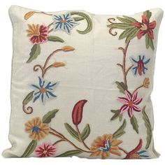 John Richard Taupe Silk with Crewel Floral