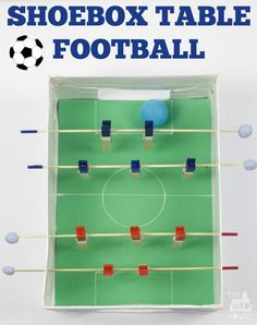 Make a table foosball game from a shoebox.  This shoebox football table is perfectly sized for kids and made from household items.
